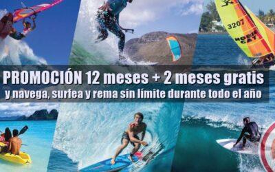 PROMOCIÓN 12+2  y navega, surfea y rema sin límite durante todo el año.